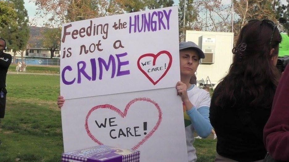 Nine charged for giving food to homeless in California